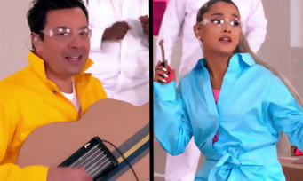 "Nintendo Labo : Jimmy Fallon et Ariana Grande chantent ""No Tears Left to Cry"" avec les Toy-Cons"