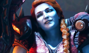Les Gardiens de la Galaxie : Lady Hellbender (Inferno) face à Star-Lord et à Drax dans une cinématique